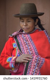 Sacred Valley, Cusco, Peru - Oct 13, 2018: An indigenous Quechua lady in the Yachaq community of Janac Chuquibamba
