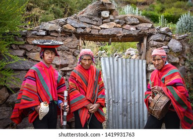 Sacred Valley, Cusco, Peru - Oct 13, 2018: A group of musicians in a rural Quechua community near  the Sacred Valley