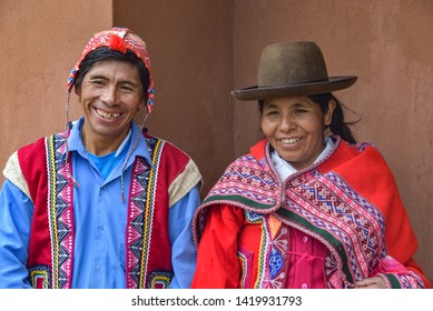 Sacred Valley, Cusco, Peru - Oct 13, 2018: An indigenous Quechua man and woman in the Yachaq community of Janac Chuquibamba