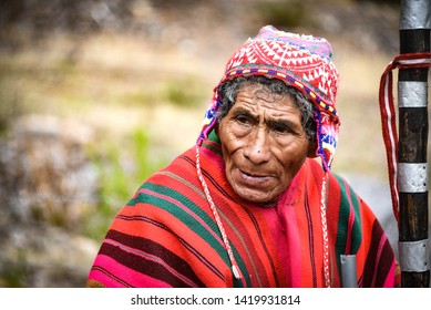 Sacred Valley, Cusco, Peru - Oct 13, 2018: An indigenous Quechua man in traditional dress