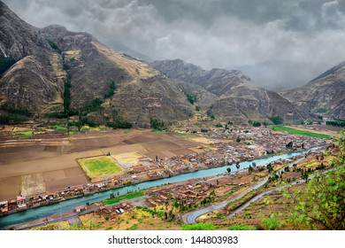 The Sacred Valley of the Incas. Urubamba river, mountains and the city.