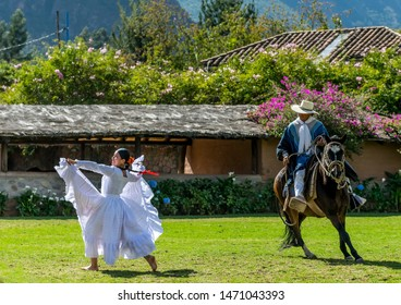 Sacred Valley, Peru - 05/21/2019: Beautiful traditional Peruvian horse and dance show performance at the Sanctuary Lodge in the Sacred Valley of Peru.