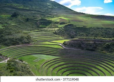 Sacred Valley, Peru â?? March 24, 2015: Scenes from Moray archeological site in the Sacred Valley. Historians believe these terraces were used for farming experiments. General travel imagery for Peru.