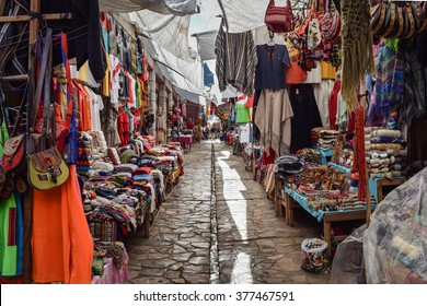 Sacred Valley, Peru â?? March 24, 2015: Artisan markets in Pisac, one of the key stop-offs on the Sacred Valley route to Machu Picchu. General travel imagery for Peru.