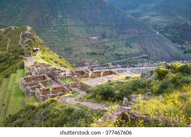 Sacred Valley, Peru â?? March 24, 2015: Incan ruins above the ancient town of Pisac, one of the key stop-offs on the Sacred Valley route to Machu Picchu. General travel imagery for Peru.