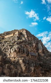 Sacred Valley/Peru - Aug 21 2019: Ruins in the mountains of Ollantaytambo on Sacred Valley