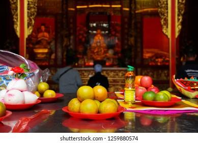 Sacrifices for the gods in the shrine at Dragon Temple Kammalawat,Yaowarat area.