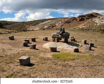 Sacrificial altar.  Island of the Sun.  Lake Titicaca.  Bolivia.