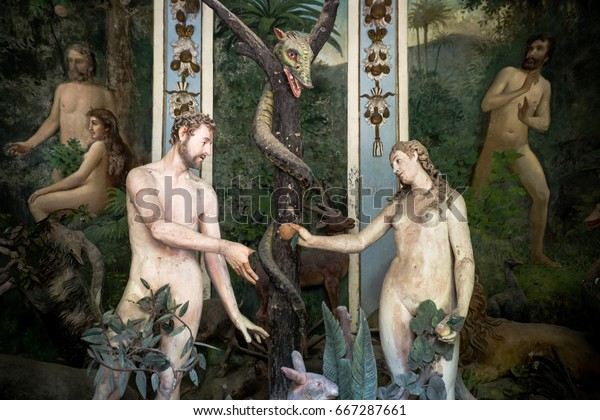 Sacro Monte di Varallo, Piedmont, Italy, June 02 2017 - biblical characters scene representation of Adam and Eve in the Eden