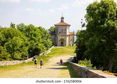 Sacro Monte (VA), Italy - June 01, 2020: he road to famous chapels at pilgrimage village of Santa Maria del Monte on Sacro Monte di Varese, UNESCO, Santa Maria del Monte, Varese, Lombardy, Italy