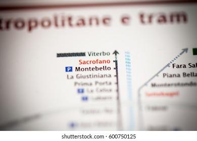 Sacrofano Station. Rome Metro map.