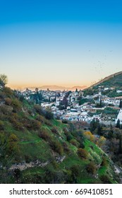 Sacromonte views at sunrise from Avellano Road in the city of Granada, Andalusia, Spain.