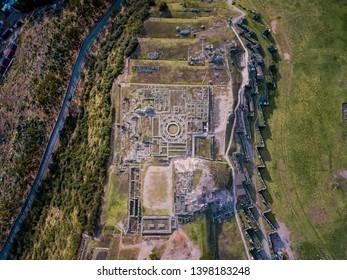 Sacsayhuaman archeological site near Cuzco Peru from the air