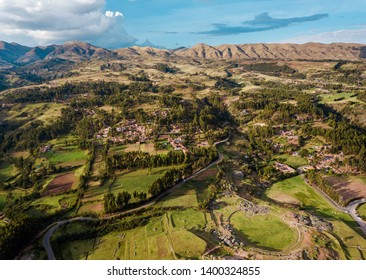 Sacsayhuaman archeological site and the surrounding mountains from the air