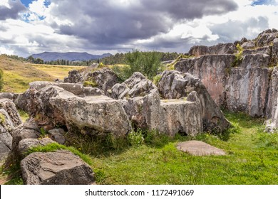 Sacsayhuaman Incan Ruins with mountain views and stones in Cusco, Peru