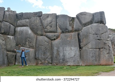 Sacsayhuaman Ruins,Cuzco, Peru. Fortress Sacsayhuaman - the last  stronghold of the Incas in the north of Cusco.