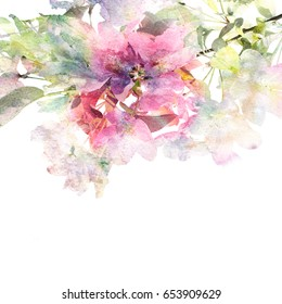 Sacura blossom branch. Floral background. Watercolor floral bouquet. Birthday card with pink flower. Wedding invitation template. Greeting card.