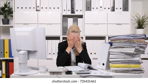 Sad Accountant Woman Having Headache Pain, Stressed Bookkeeper Having Unhappy Moment at Bookkeeping Office Room, Accountancy Activity