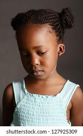 Sad African little girl