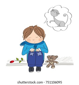 Sad and alone little boy sitting on the pavement, crying and remembering his cat he has lost - original hand drawn illustration