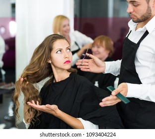 sad american girl has a fight with barber