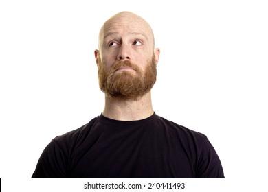 sad bald red beard man