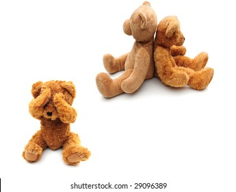 sad bear with mummy and daddy bear not speaking