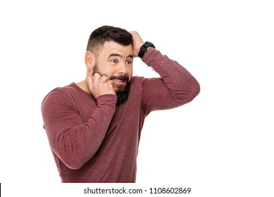 sad bearded football fan screaming on white background. man watching sports and supporting team