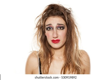 Crying Young Woman Bad Makeup Messy Stock Photo Edit Now 531957562
