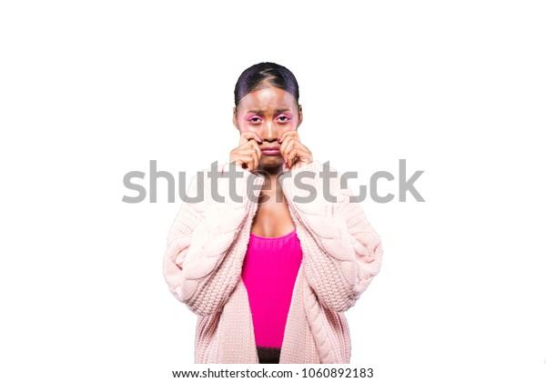 sad black young girl crying