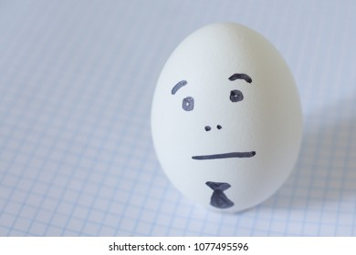sad bored office manager, egg poor smile with tie