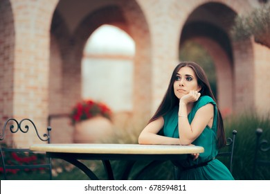 Sad Bored Woman Being Stood Up on a Date in a Restaurant - Disappointed  girl sitting alone in a garden waiting a date