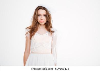 Sad bride. Isolated white background