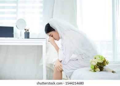 Sad bride on the wedding day