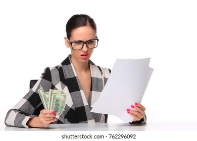 Sad business woman with the money of salary