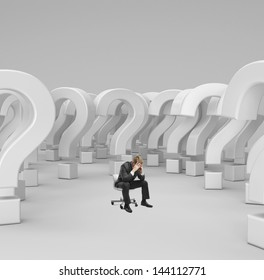 sad businessman sitting on chair with 3d questions