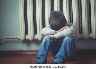 Sad caucasian boy