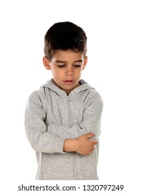 Sad child isolated on a white background