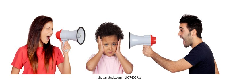 Sad child listening her parents shouting themself isolated on white background