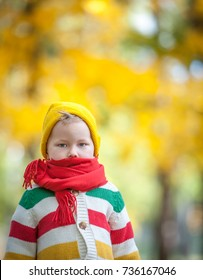 Sad child walking in autumn park. Sick boy. Kid with red scarf on neck. Colorful and bright nature. Family outdoors.