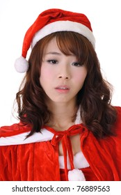 Sad Christmas girl, half length closeup portrait on white background.