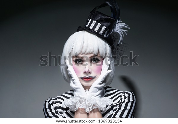Sad Clown Makeup Uncombed White Hairpensive Stock Photo