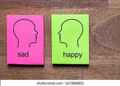 sad and contradicted happy is written on purple and green notes stickers, each with a mirrored outline of a head in balck