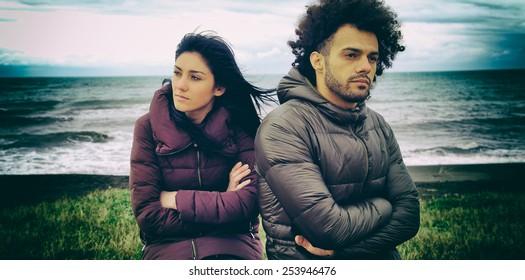 Sad couple having relationship problems