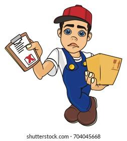 sad courier boy