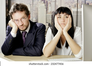 Sad coworker in office in New York