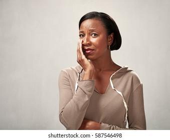 Sad crying black woman