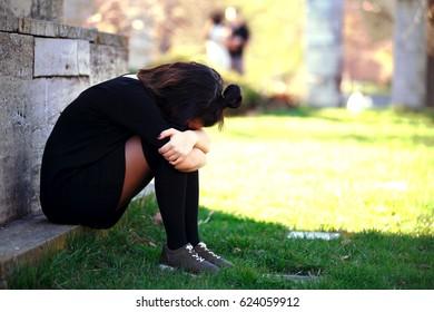 Sad Crying Teen Girl Outdoor