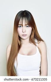 Sad face of asian woman