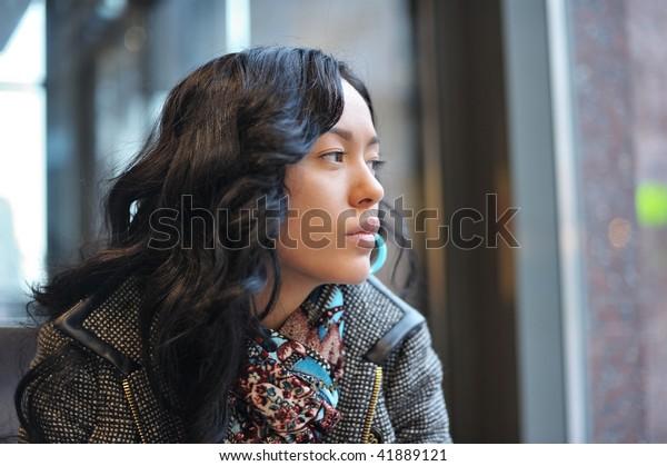 Sad girl in cafe